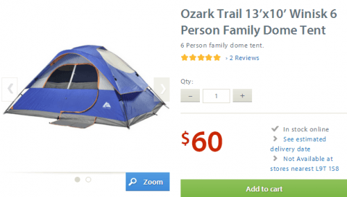 Ozark Walmart Tent  sc 1 st  Smart Canucks & Walmart Canada Deal: Ozark Trail Winisk 6 Person Dome Tent Only ...