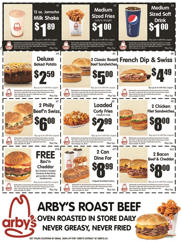 photo relating to Arbys Coupons Printable called Arbys Cafe Canada: Refreshing Printable Discount codes Canadian