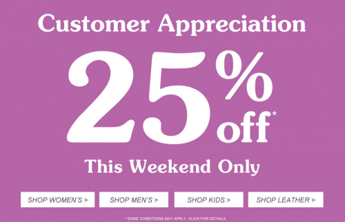 customer appreciation 25 percent off roots canada