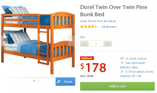dorel walmart bunk bed
