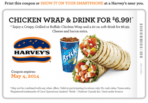 harveys coupon wrap and a drink