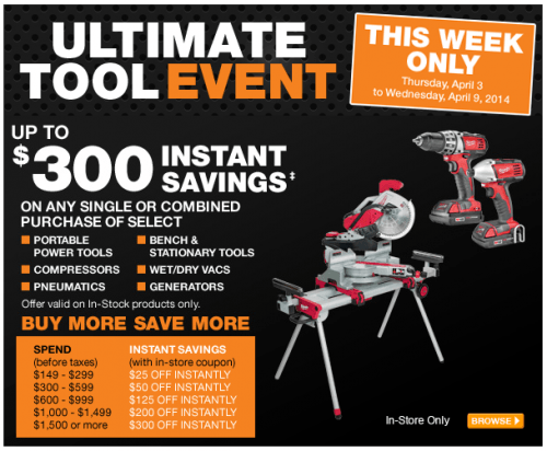 home depot ultimate tool event