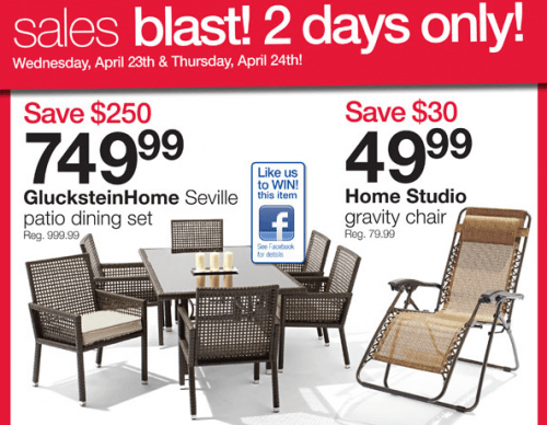 Home Outfitters Canada Sale Save 250 On Seville Patio Set Save 30 On Gravity Chair And More
