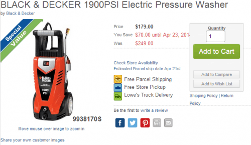 lowe's black and decker pressure washer