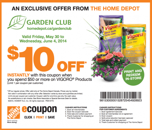 The Home Depot Garden Club Coupons Save 10 When You Spend 50 Or More On Vigoro Products