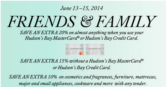 Hudson's Bay Friends & Family Event