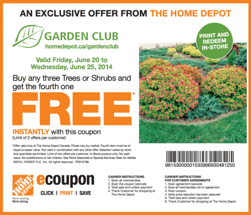 The Home Depot Garden Club Printable Coupons Buy Any Three Trees Or Shrubs Get The Fourth One