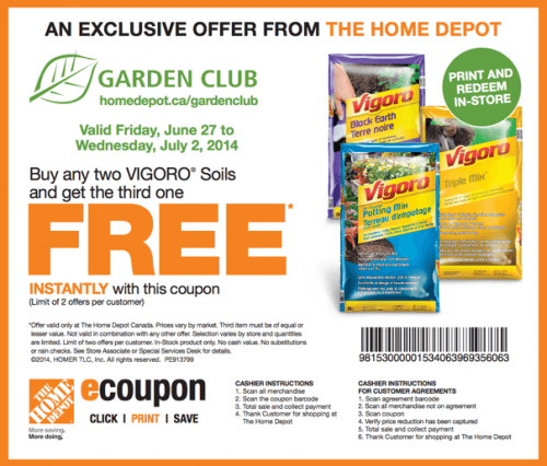 The Home Depot Canada Garden Club Coupons Buy Any Two Vigoro Soils And Get The Third One Free