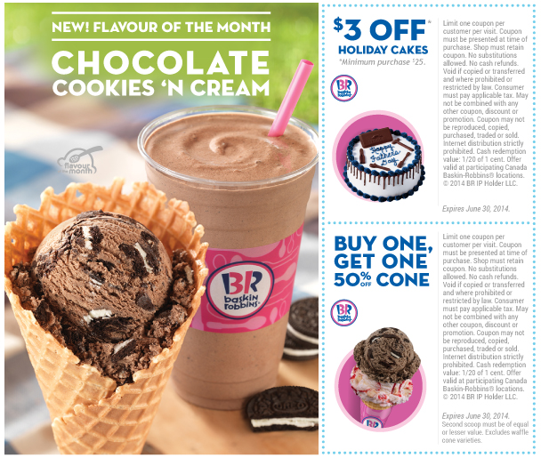 photo about Baskin Robbins Printable Coupons titled Baskin Robbins Canada Printable Discount coupons: $3 Off Vacation