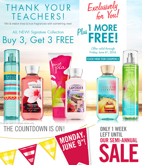 Bath Amp Body Works Coupon Buy 3 Get 4 Free Semi Annual