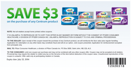 image about Centrum Coupon Printable referred to as Centrum Canada Fresh Printable Coupon: Preserve $3.00 Off The