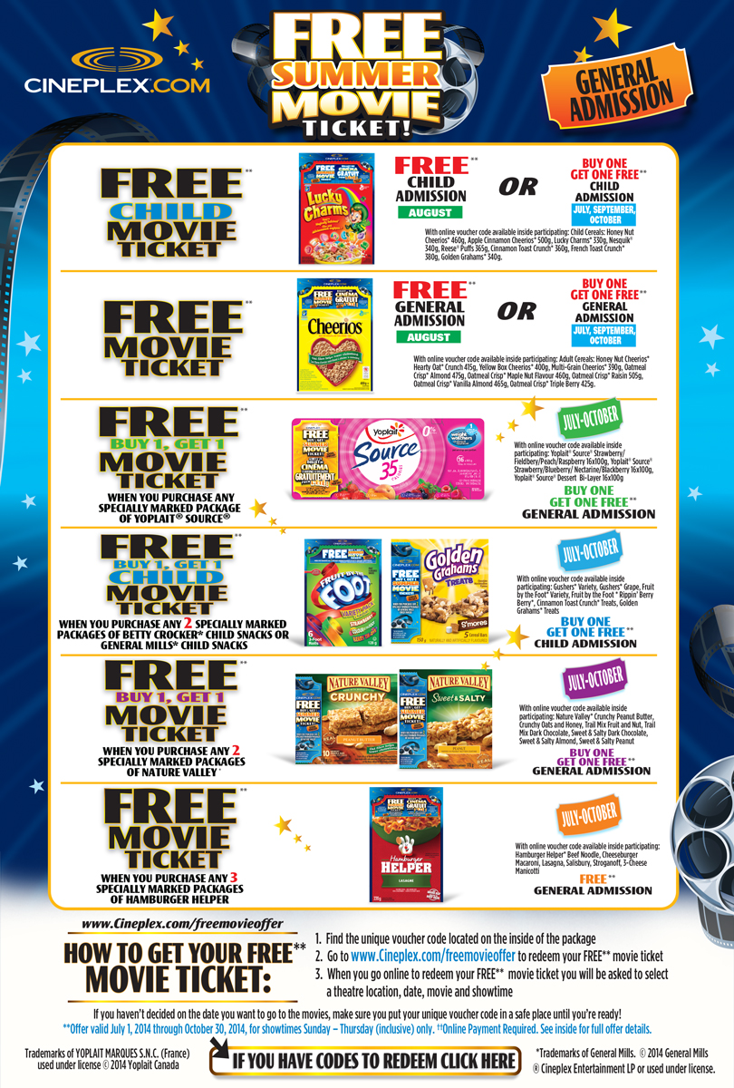 buy one get one free movie offer GET A FREE** BUY 1 TICKET, GET 1 GENERAL ADMISSION ticket when you rent or buy any movie from the Cineplex Store between July 15 and August 1.