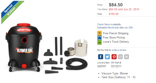 check out this fantastic offer from loweu0027s canada online save 50 off the shopvac 45l 65 peak hp shop vacuum from lowesca and spend only