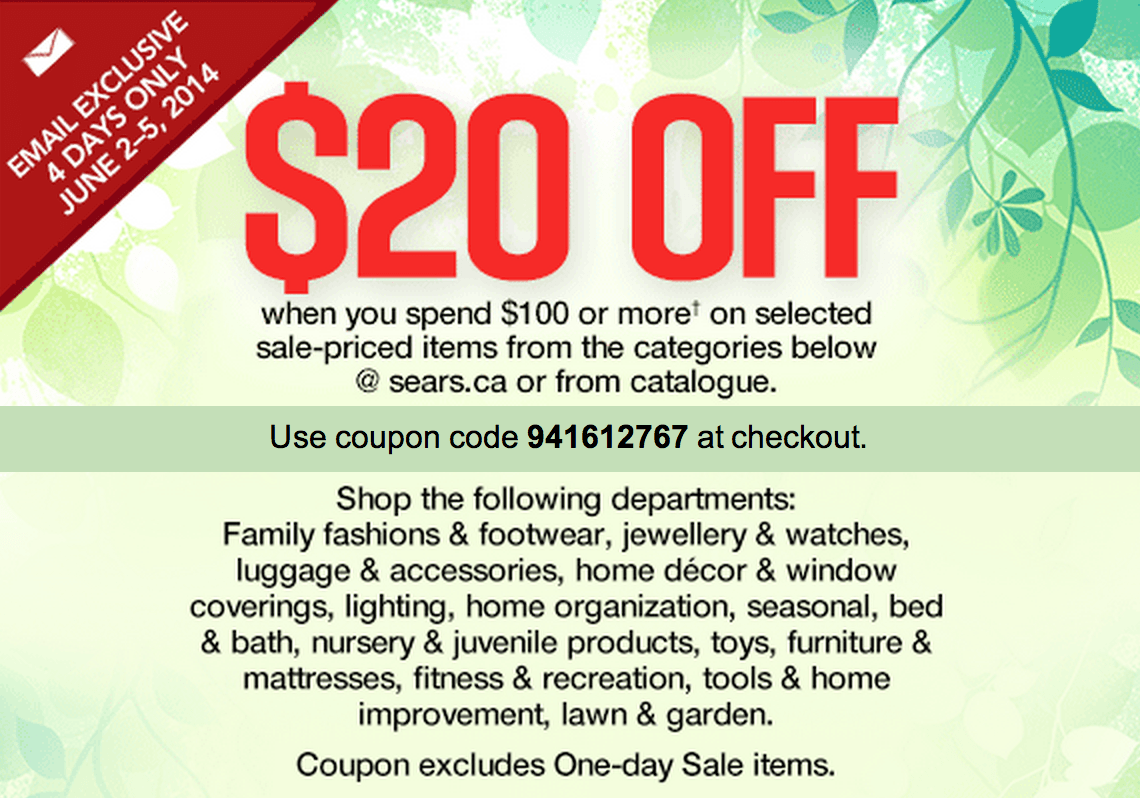 $35 Off With Sears Promo Code. Here's the Sears $35 off coupon! Enter the promo code at checkout to get $35 off a $+ order on home appliances, lawn and garden, tools, mattresses, and sporting goods/5(26).