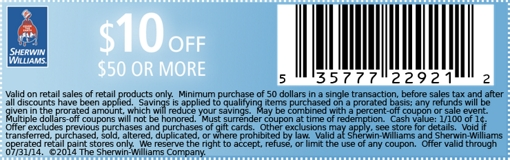 graphic regarding Sherwin Williams Printable Coupon identified as Sherwin Williams Canada Printable Coupon: Help save $10 Off The moment