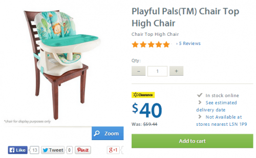 walmart clearance playful pals high chair