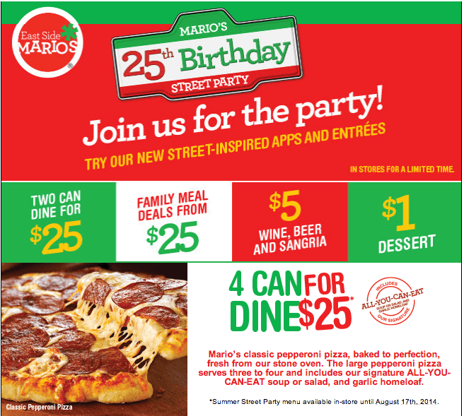 East Side Mario's 25th Birthday Offers: 4 Can Dine For $25