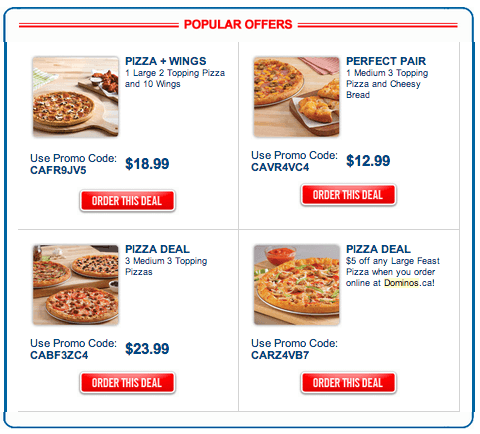 Popular Expired Dominos Canada Coupons