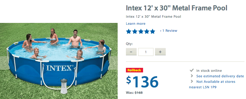 "Walmart Canada Rollback Offer: Get Intex 12′ x 30"" Metal Frame Pool ..."