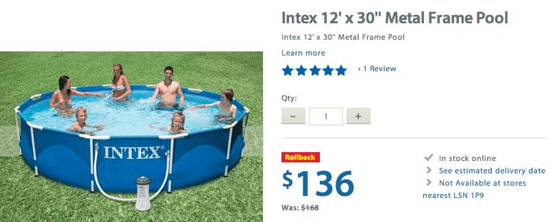 Walmart canada rollback offer get intex 12 x 30 metal frame pool for 136 canadian freebies - Intex 12x30 metal frame pool ...