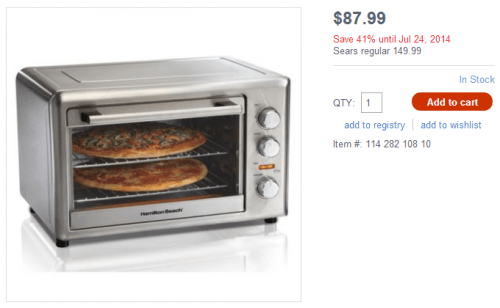 Countertop Oven Canada : Sears Canada Deal: Save 41% Off Hamilton Beach Countertop Oven with ...