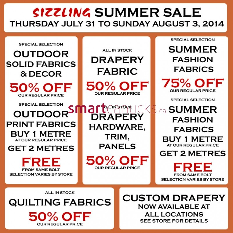 Home Decorators Collection Coupons Promo Codes Deals: Fabricland Canada Ontario West Sizzling Summer Sale: Save