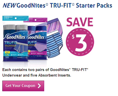 Goodnites Canada New Printable Coupon Save 3 Off Tru Fit