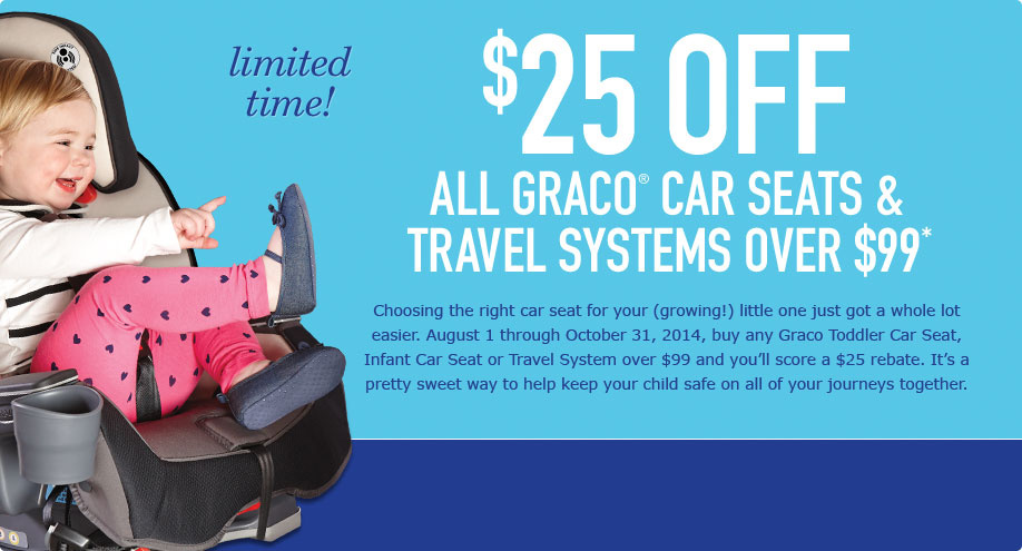 Toys R Us Car Seats >> Graco Canada Mail in Rebate: Receive $25 off All Graco Car Seats and Travel Systems Over $99 ...