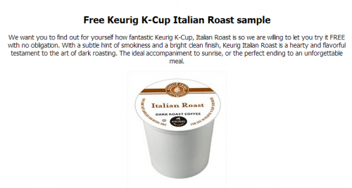 Go here to request for your FREE Freedom Clip (Adapter for Keurig so you can use any K-Cups). Additionally, the first 10, will also get a Free Sample pack of San Francisco Bay's OneCups k .
