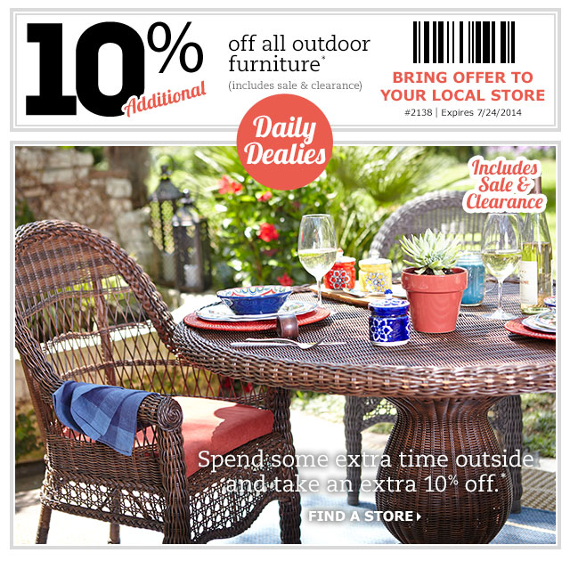pier 1 imports july 22. Pier 1 Imports Canada Daily Coupon  Save 10  Off All Outdoor
