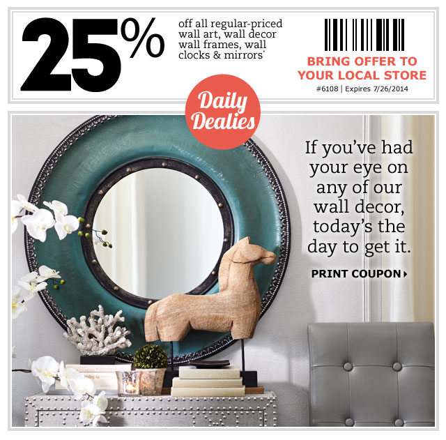 Click here to get your Pier 1 Imports Canada Printable Coupon. Pier 1 Imports Canada Daily Coupon  Save 25  off Wall Art  Wall