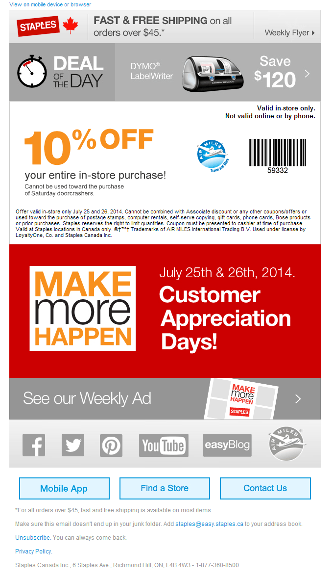 Click Here To Print This Staples Canada Customer Appreciate Coupon