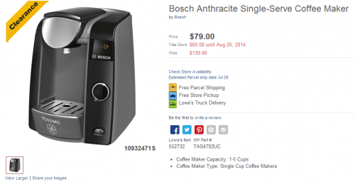 Lowe s Canada Clearance Deal: Bosch Tassimo Anthracite Single Serve Coffee Maker Canadian ...