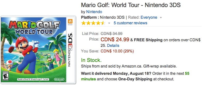 amazon canada offers save 29 on mario golf world tour nintendo 3ds canadian freebies. Black Bedroom Furniture Sets. Home Design Ideas