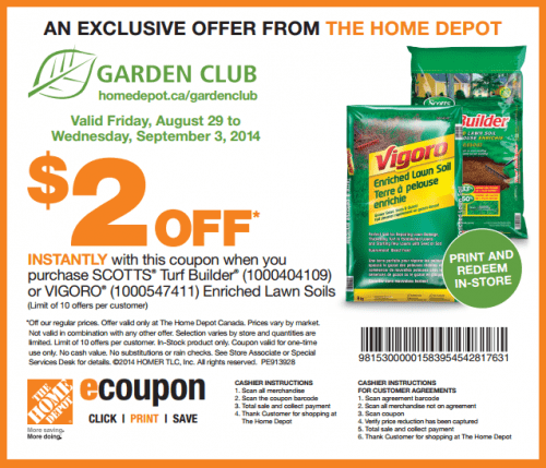 Home Depot Canada Garden Club Printable Coupons Save 2
