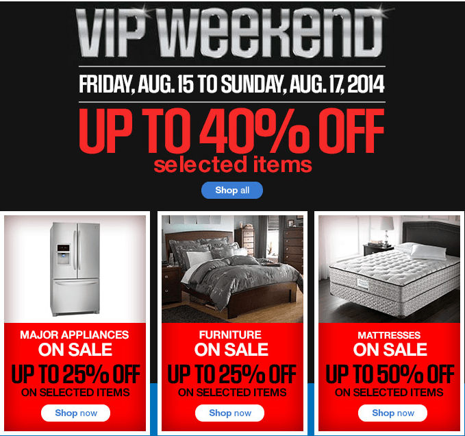 Best Furniture Sales This Weekend: Sears Canada VIP Weekend Sale: Get Up To 40% Off Selected