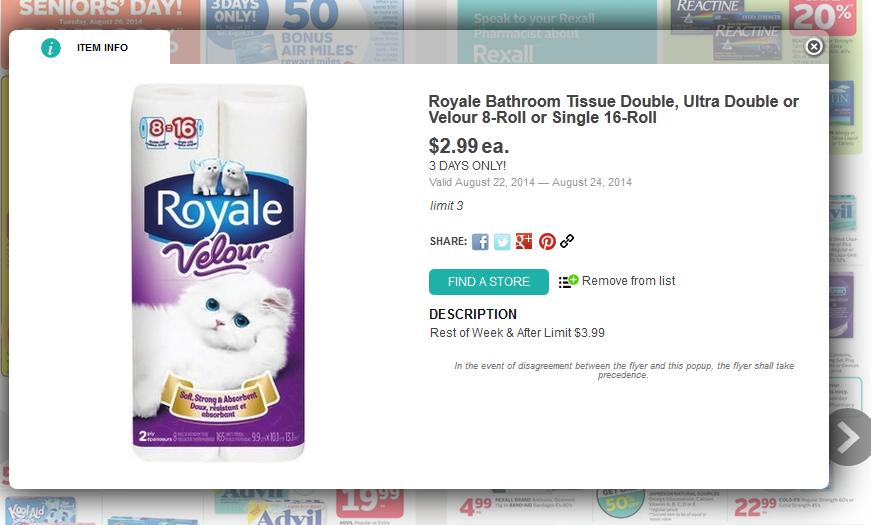 Time To Stock Up On Toilet Paper This Week At Rexall Ontario The Royale Velour Eight Double Roll Or Single Packs Are Sale For Just 299