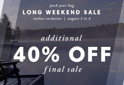 joe fresh long weekend sale