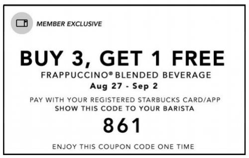 starbucks buy 3 get 1 free coupon