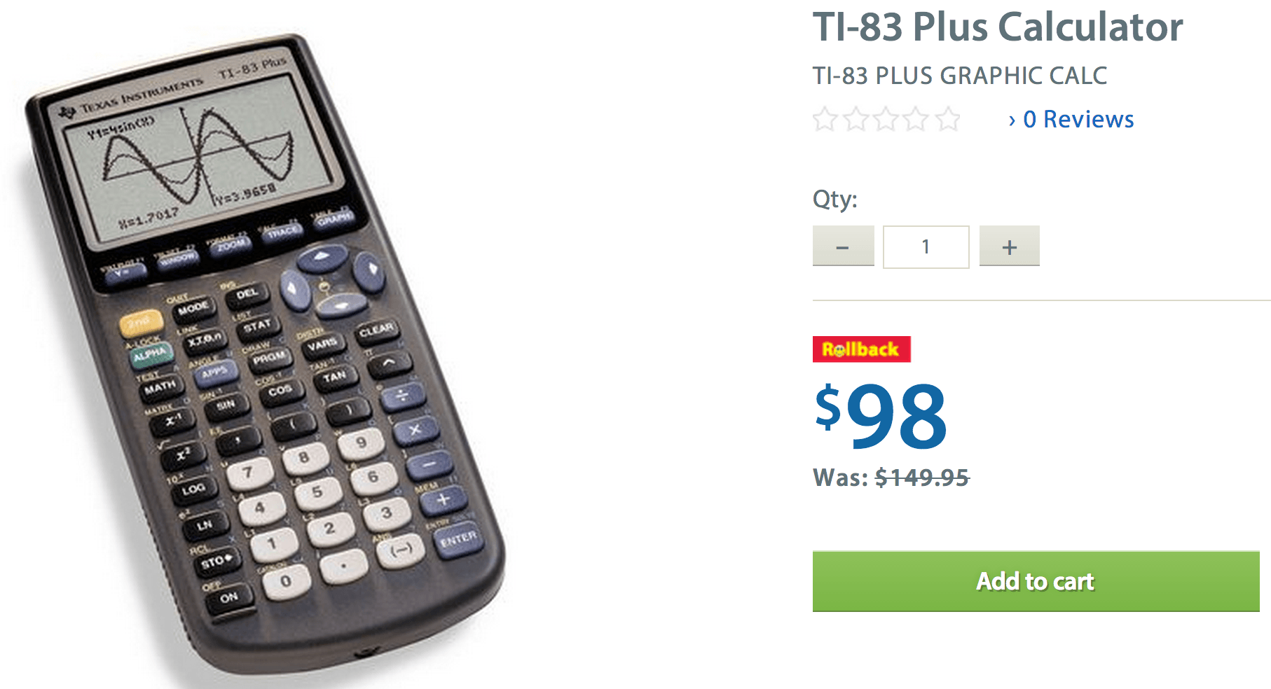 Refurbished texas instruments ti-83 plus programmable graphing.