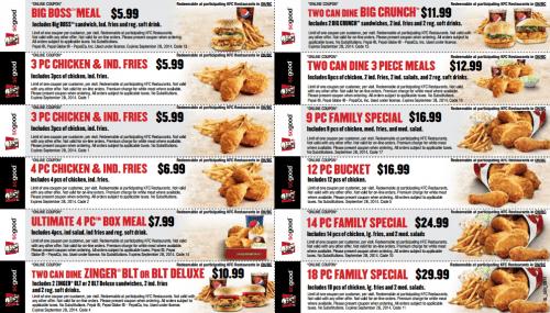 Kfc menu coupons canada