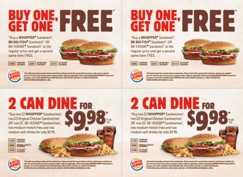 graphic relating to Bk Printable Application named Burger King Canada Clean Printable Discount codes: Get A person Acquire A single