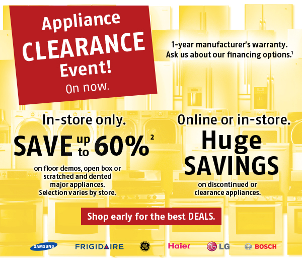Appliance clearance sale
