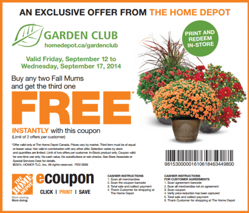 Home Depot Canada New Garden Club Coupon Buy Any Two Fall