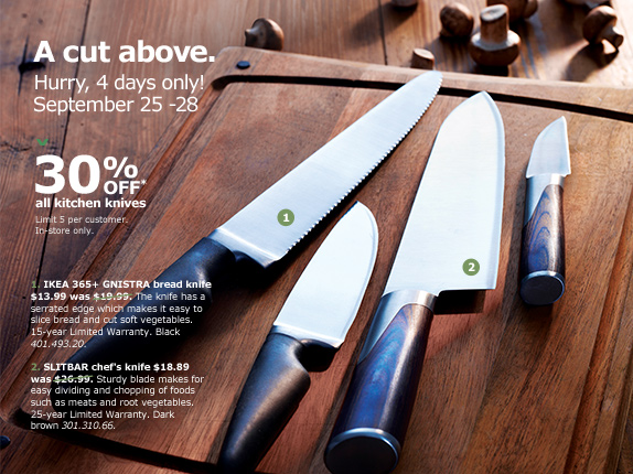 IKEA Canada Sale: Save 30% Off All Kitchen Knives For 4 Days Only!