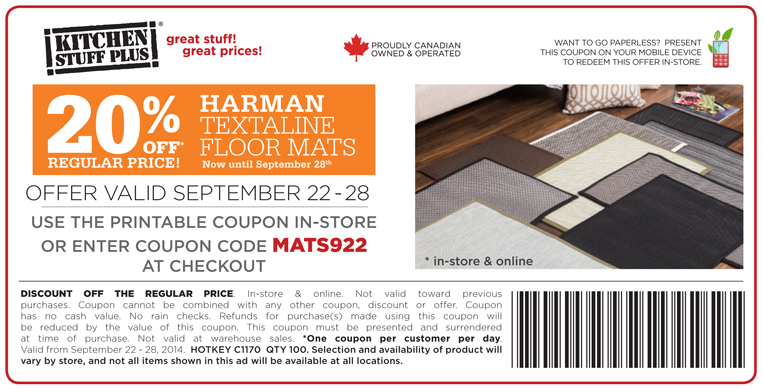 picture regarding Printable Floor Mats named Kitchen area Things Furthermore Canada Printable Discount codes: Help save 20% off