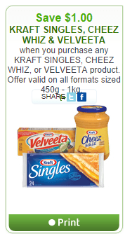photograph regarding Velveeta Printable Coupon called Clean WebSaver.ca Canada Coupon: Preserve $1.00 Off Kraft Singles