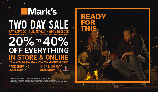 "dc7d6f2afcf 2 responses to ""Mark's Work Wearhouse Two Day Sale: Save 20% – 40% Off  Everything In Store and Online"""