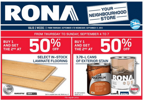 Rona Canada Flyer Deals Buy One Get One 50 Off Select Items And