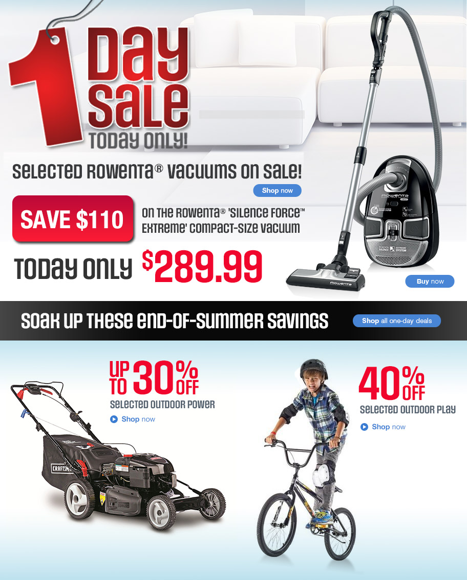 sears canada one day online flash sale save 110 on rowenta silence force extreme vacuum 40. Black Bedroom Furniture Sets. Home Design Ideas